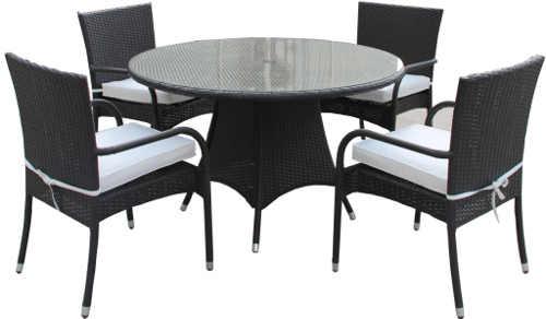 Zahradní nábytková sestava z umělého ratanu s kulatým stolem