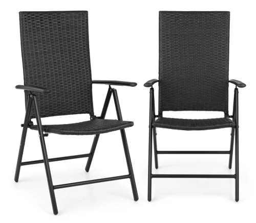 Dvě polohovatelné židle z umělého ratanu na balkon Blumfeldt Estoril