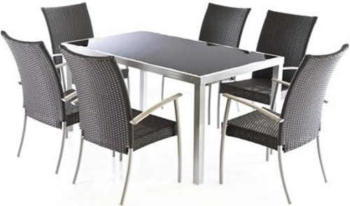Jídelní set na terasu s šesti židlemi