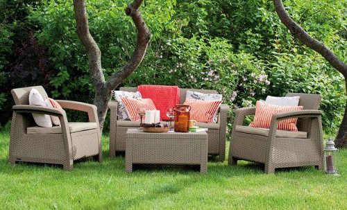 Krémový ratanový zahradní set s dvěma křesly
