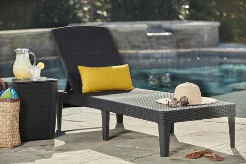Polohovatelné lehátko k bazénu z umělého ratanu