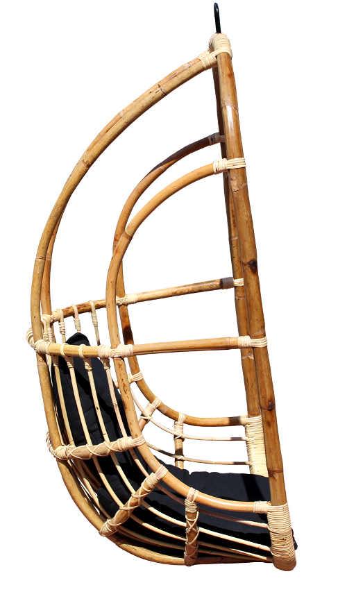 Přírodní dřevěná houpačka na zahradu ratan a bambus