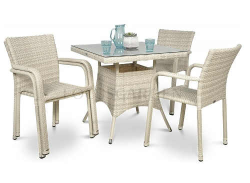 Béžová sestava zahradního nábytku se čtyřmi židlemi