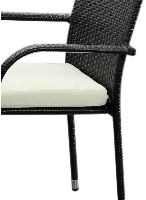 Černá zahradní židle z umělého ratanu s měkkým podsedákem