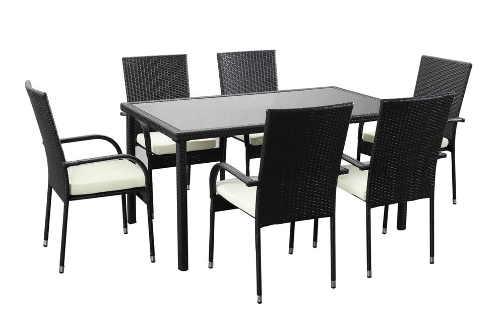 Set zahradního nábytku z umělého ratanu se šesti židlemi