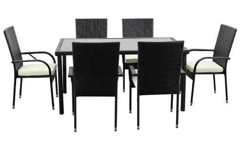 Venkovní jídelní set v černé barvě se 6 židlemi