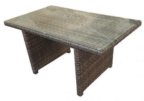 Zahradní stůl z umělého ratanu se skleněnou deskou