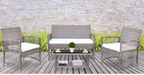 Béžovo-šedá zahradní ratanová sestava