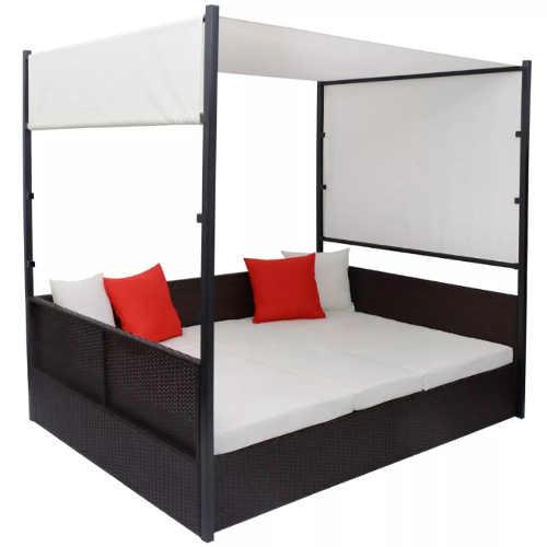 Dvoulůžková ratanová postel s baldachýnem