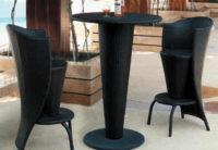 Barový set CÉZAR- barový stůl + 2 barové židle z umělého ratanu