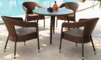 Ratanová souprava Miki - stůl + stohovatelná 4 křesla