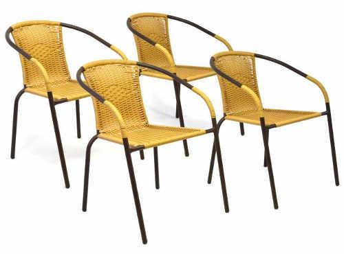 Sada 4 kusů zahradních židlí se žlutým polyratanovým výpletem