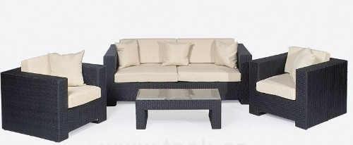 Luxusní ratanová sedací souprava PLOSS - pohovka, dvě křesla, konferenční stolek