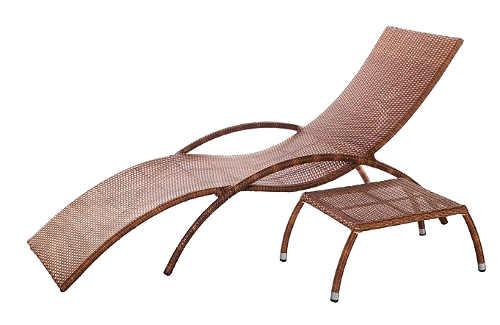 Pohodlné zahradní lehátko BADE z umělého ratanu