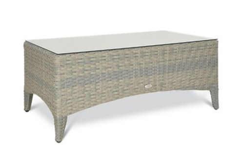 Světle šedý zahradní stolek z umělého ratanu se skleněnou deskou
