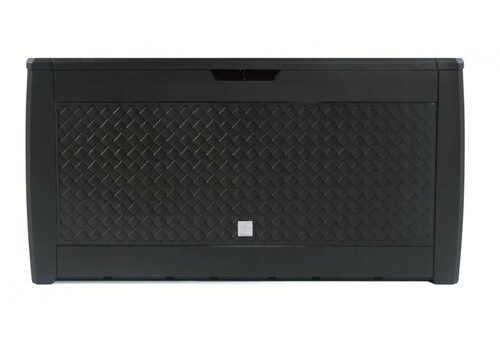 Černý plastový úložný box imitace ratanu