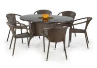 Zahradní ratanový stůl v černo-hnědé kombinaci