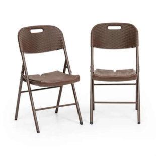 Sada - 2 skládací ratanové židle