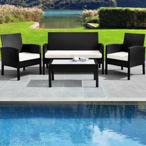 černá ratanová sestava nábytku