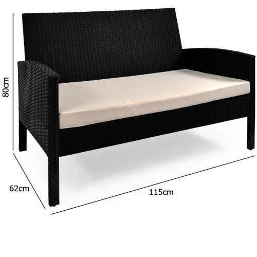 sestava nábytku černá z polyratanu