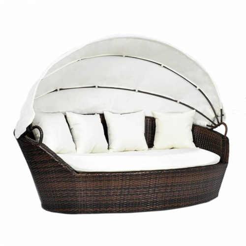 luxusní postel ratanová s baldachýnem