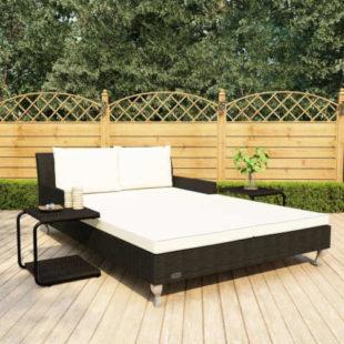Zahradní postel s poduškou a se stolky